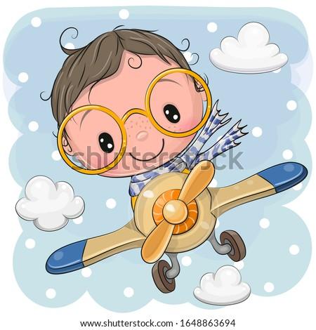Cute Cartoon Boy is flying on a plane