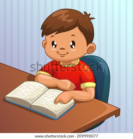 Cute Cartoon Boy Is Reading Book, Vector Illustration ...