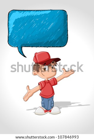 Cute cartoon boy talking with speech balloon
