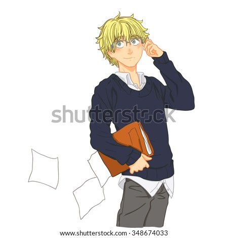 cute cartoon boy with blond