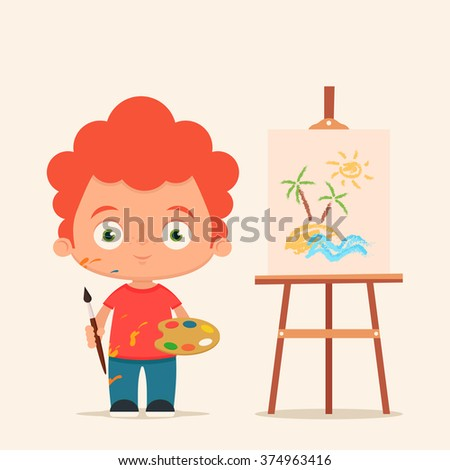 cute cartoon boy with brush and