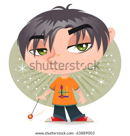 cute cartoon boy with his yoyo