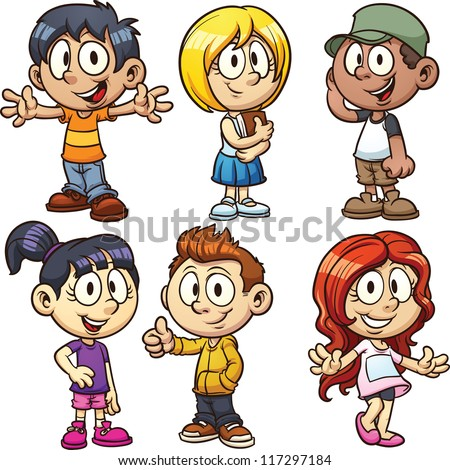 Cute cartoon boys and girls. Vector clip art illustration with simple ...