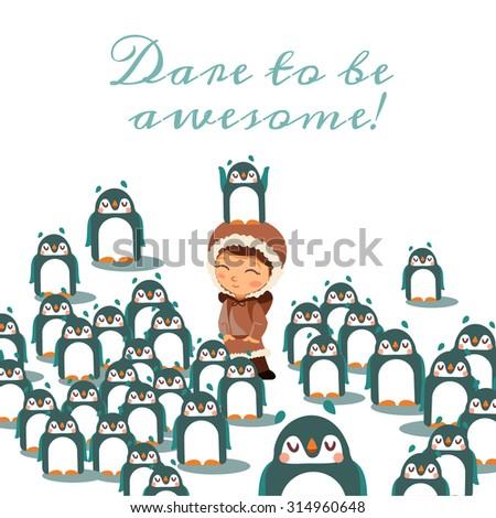 cute cartoon brave penguin