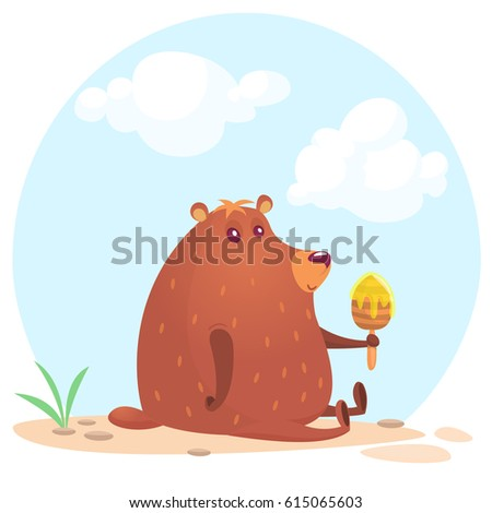 cute cartoon brown bear holding