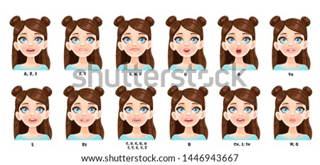 Cute cartoon brunette girl talking mouth animation. Female character speak mouths expressions