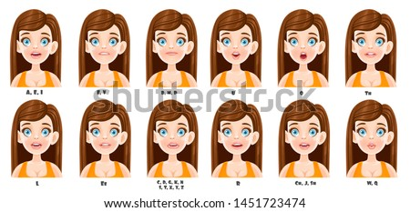 Cute cartoon brunette woman talking mouth animation. Female character speak mouths expressions