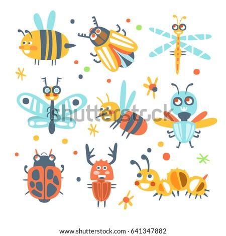 cute cartoon bugs set funny