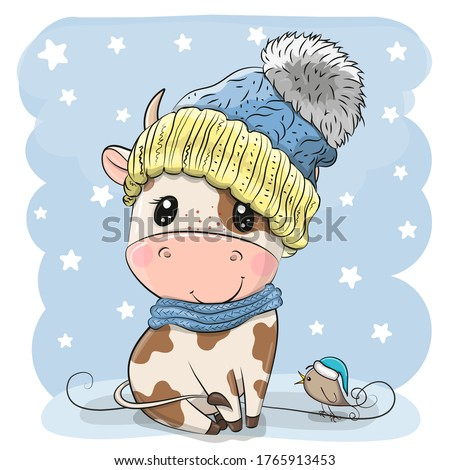 Cute Cartoon Bull in a knit cap and a bird
