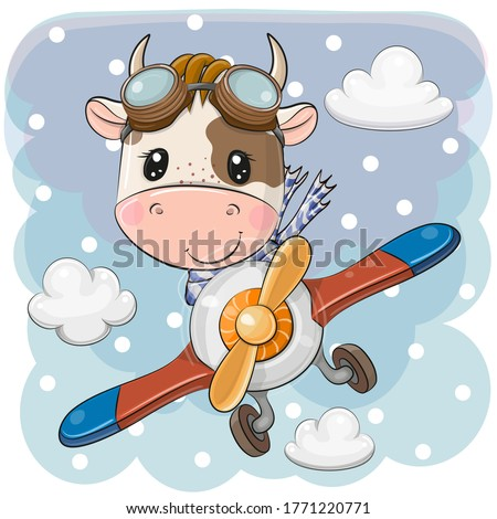 Cute Cartoon Bull is flying on a plane