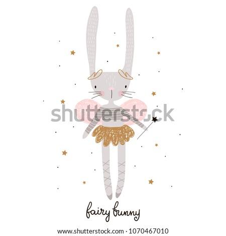Cute cartoon bunny fairy. Rabbit bellerina with wings Childish print for nursery, kids apparel,poster, postcard. Vector Illustration