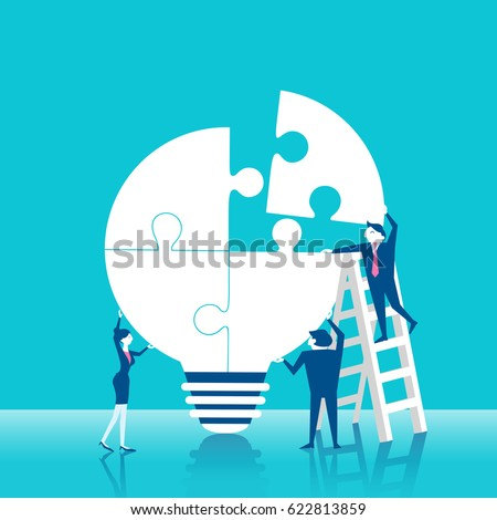 cute cartoon business people with puzzle light bulb on blue background