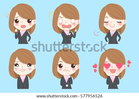 cute cartoon business woman do different emotions