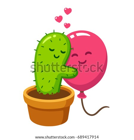cute cartoon cactus and balloon