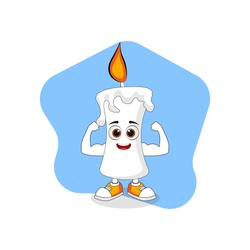Cute Cartoon Candle with Strong Muscle, Good Design For Characters Theme