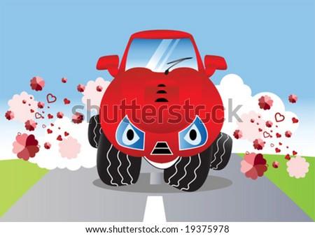 Cute cartoon car vector illustration stock