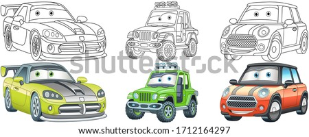 Cute cartoon cars. Coloring and colorful clipart characters. Childish designs for t shirt print, icon, logo, label, patch or sticker. Vector illustration.