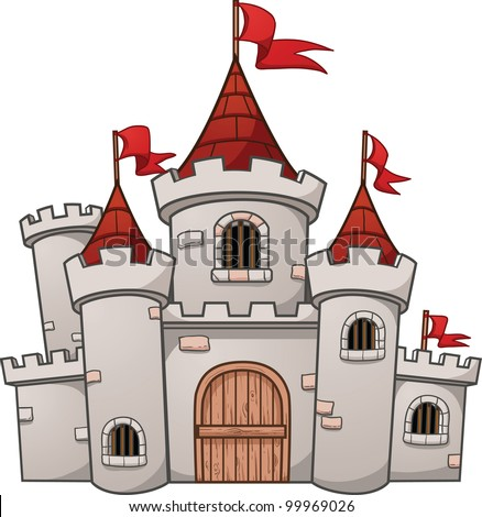 cute cartoon castle vector
