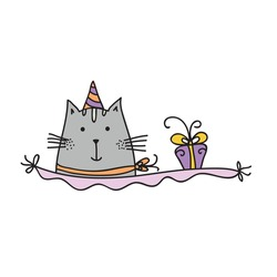 Cute cartoon cat and gift. Vector illustration