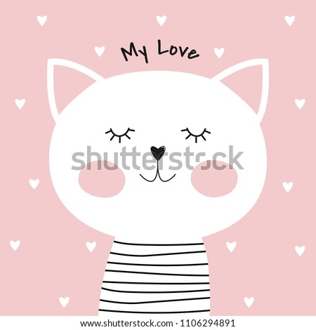 cute cartoon cat and