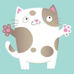 Cute cartoon cat asking for a hug. Vector Illustration.