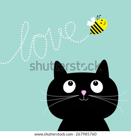 cute cartoon cat bee dash line