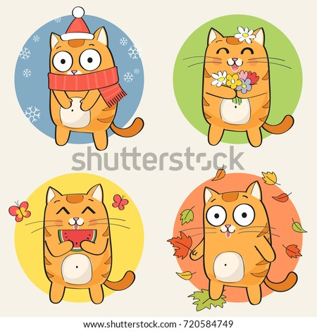 cute cartoon cat character and