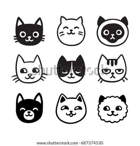Stock Photo Cute cartoon cat doodle set, funny vector icons. Hand drawn sketch style cat characters faces.