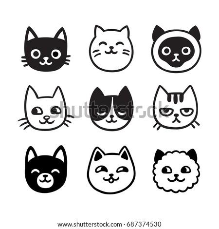 cute cartoon cat doodle set