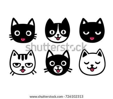 cute cartoon cat drawing set