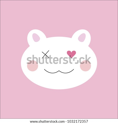 Cute cartoon cat face icon, cat face illustration on pink background