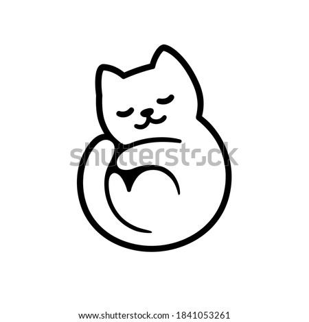 Cute cartoon cat logo, sleeping curled in circle. Adorable kitty symbol. Isolated vector clip art illustration.