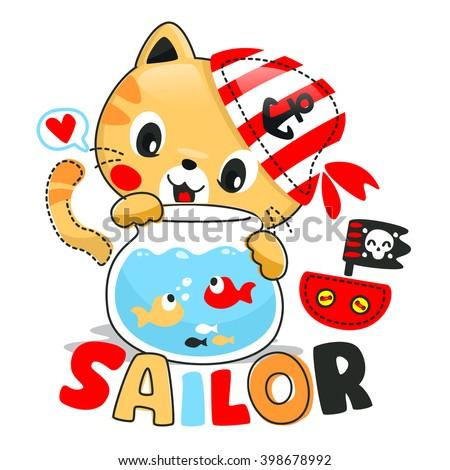 cute cartoon cat looking fish