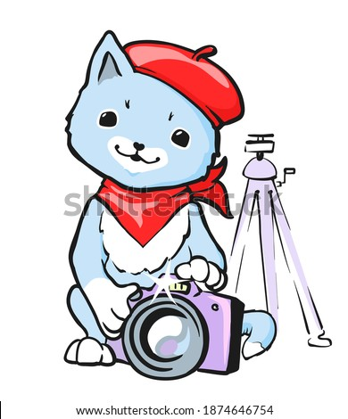 cute cartoon cat with beret and
