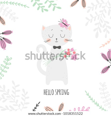 Cute cartoon cat with bouquet of tulips with floral frame and an inscription - hello spring. Vector illustration.