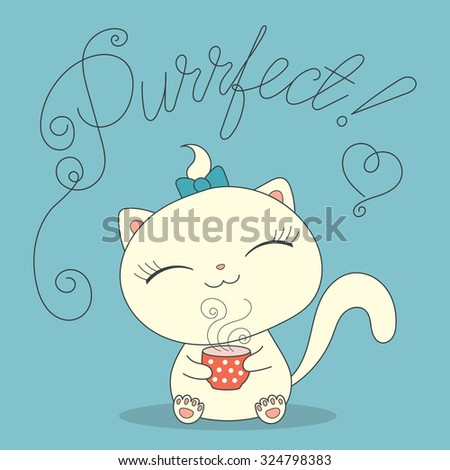 cute cartoon cat with cup of