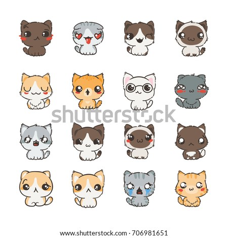 cute cartoon cats and dogs with