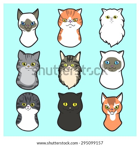 cute  cartoon cats faces set