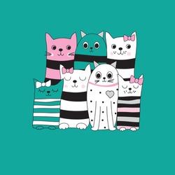 cute cartoon cats vector illustration vector illustration