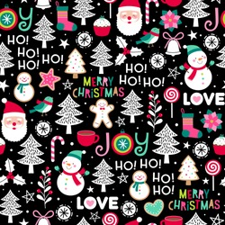 Cute cartoon character and christmas elements seamless pattern.