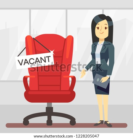 Cute cartoon character HR manager and empty boss chair. Employment, vacancy and hiring job vector concept