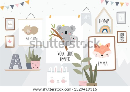 Cute cartoon character mother koala and baby. Print for baby shower party. Vector print with baby and mom koala in the interior of the children's room. Flat illustration