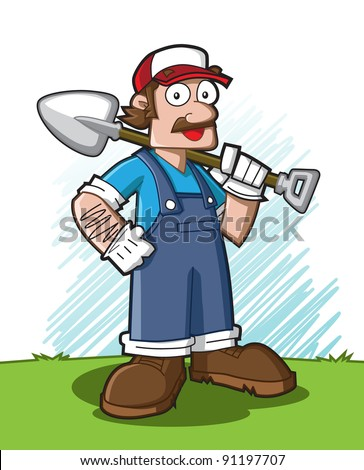 Cute cartoon character of profession (gardener) holding a spade. See my portfolio for other profession character.