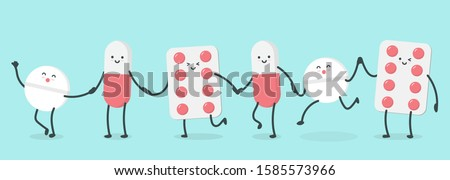 cute cartoon character pills