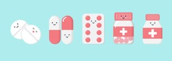 Cute cartoon character pills. isometric drugs, pills, medical pills, bottle pills, medicine, illustration design concept of Healthcare and Medicine. - vector