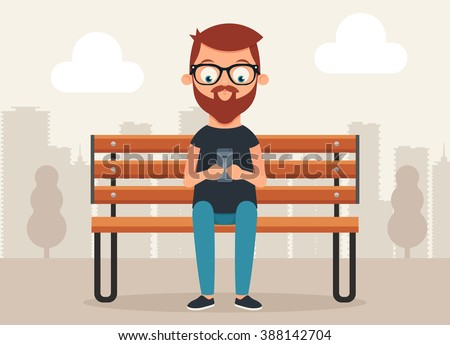 Cute Cartoon Character Sitting on the Bench and Surfing Internet with Phone. Vector Illustration