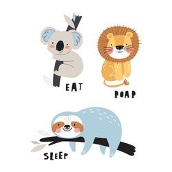 Cute cartoon character Sloth, Lion, Koala in scandinavian style. Boho vector print for baby  with sloth, Lion, Koala - Eat, Roar, Sleep