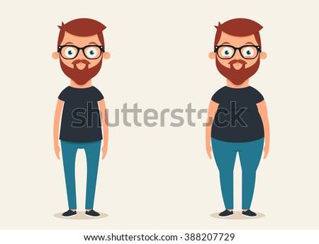 Cute Cartoon Character: Thin and Fat. Vector Set