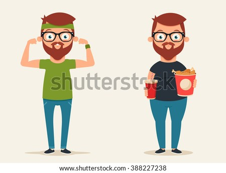 Cute Cartoon Characters: Thin Sportsman and Glutton Eating Fast Food. Vector Illustration