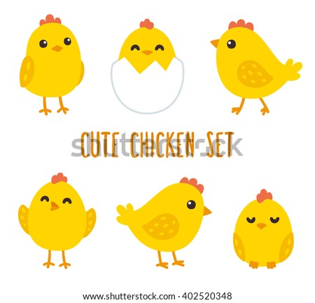 cute cartoon chicken set funny